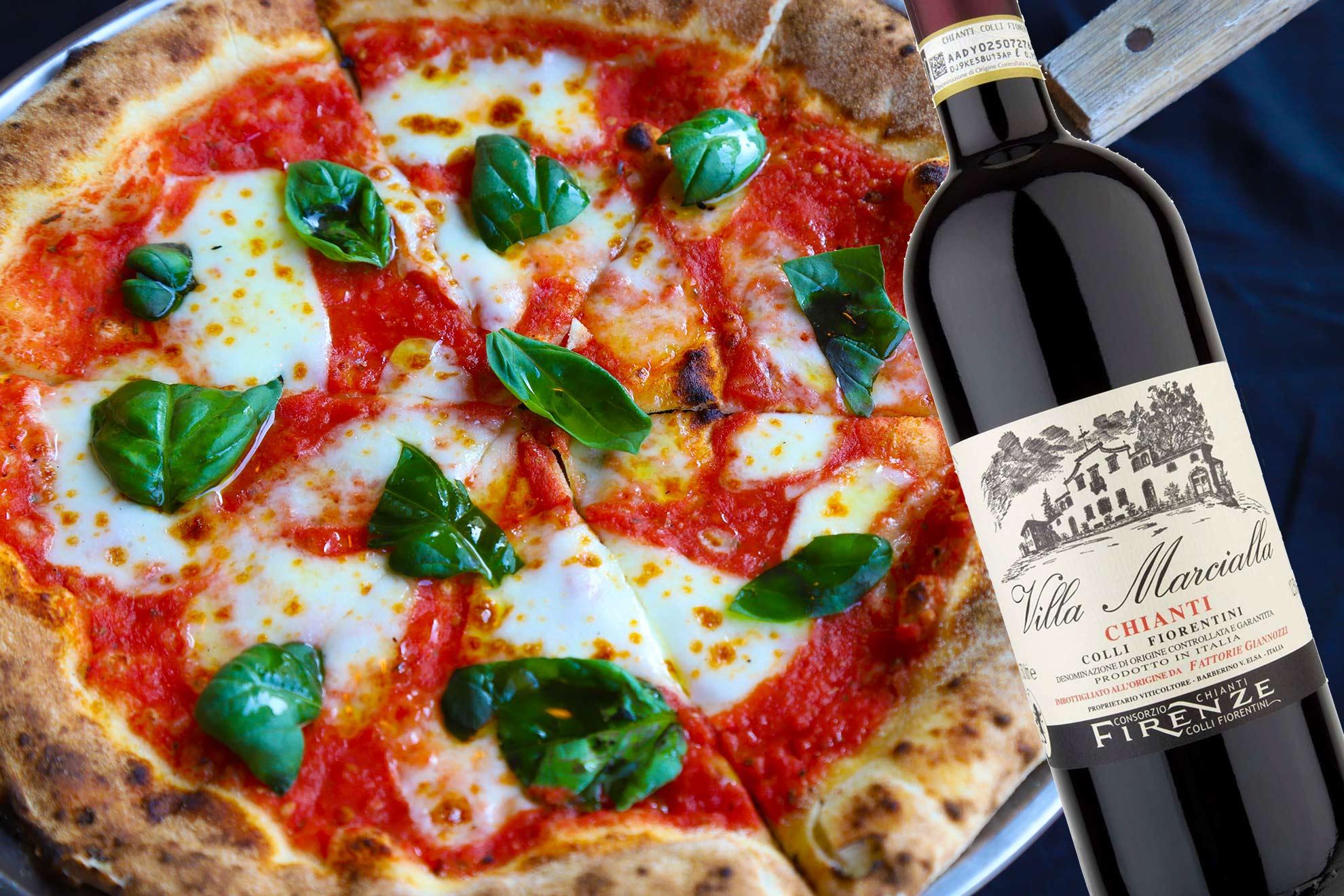 Pizzaviini: Pizza margarita ja klassinen Chianti