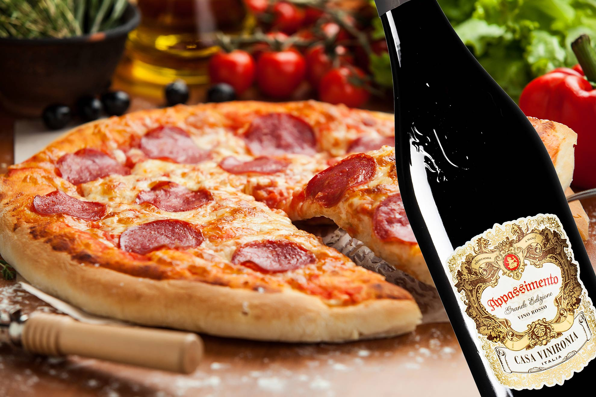 Pizzaviini: Salamipizza ja italialainen punkku